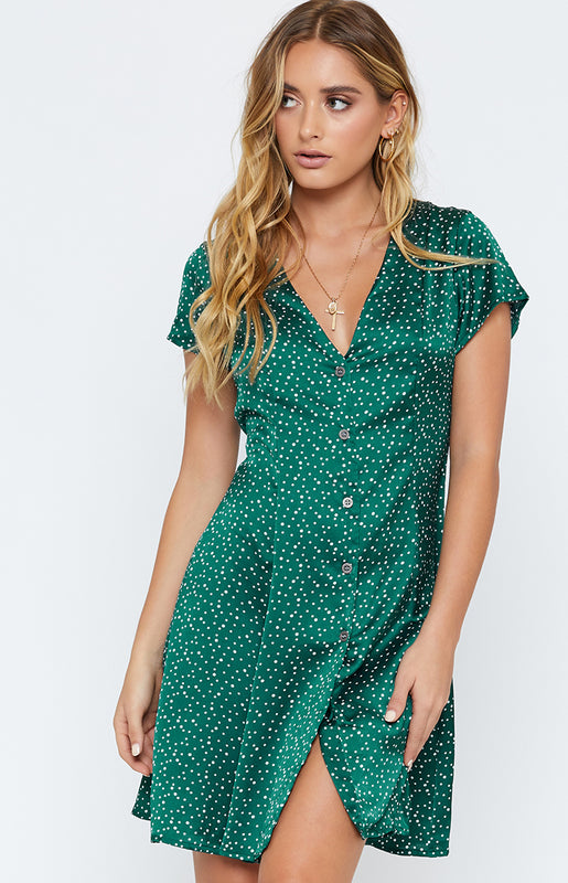 Forever Young Dress Green Polka