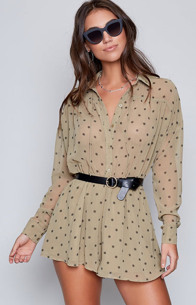 The Fifth Midnight Memories Playsuit Khaki Daisy Print