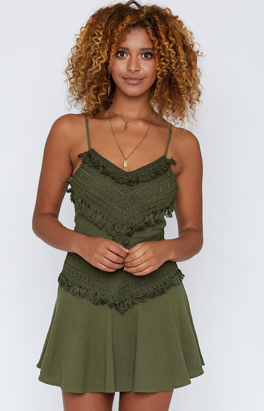 Secret Gem Dress Khaki