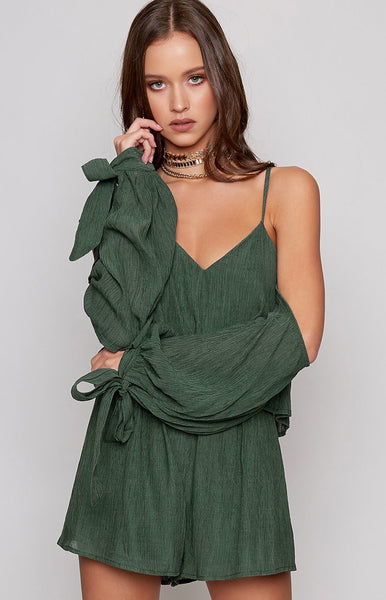 Esther Cold Shoulder Playsuit Forest Green