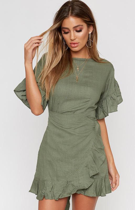 Fonda Wrap Dress Khaki