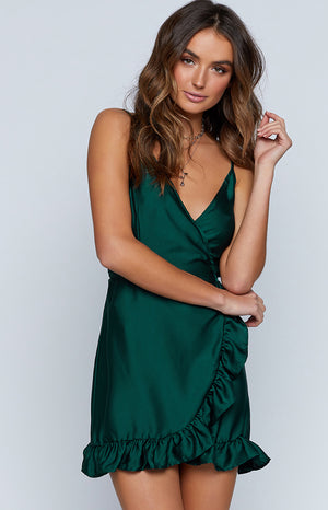 Serafina Wrap Dress Forest Green
