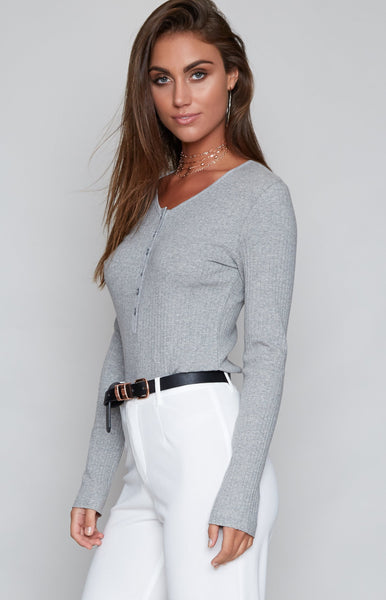 MinkPink Rib Henley Top Grey