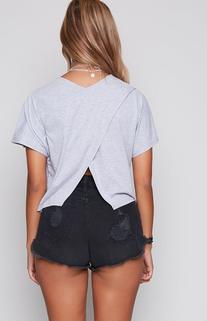 Nude Lucy Holzer Cross Back Tee Grey Marle