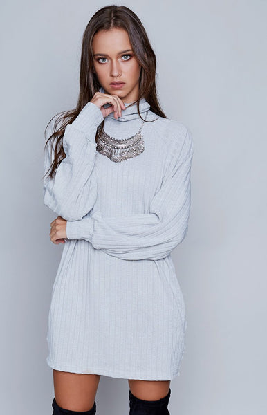Let It Be Ribbed Dress Grey