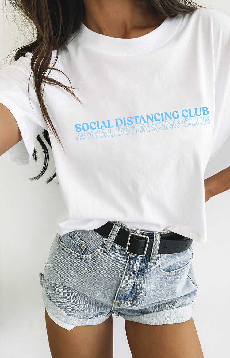 Social Distancing Club Crop Tee White