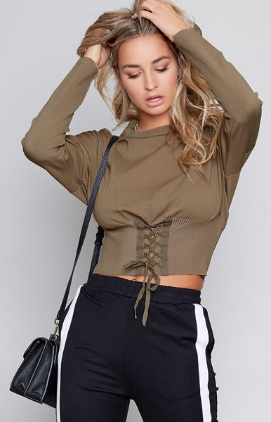 Kim Corset Cropped Sweater Olive