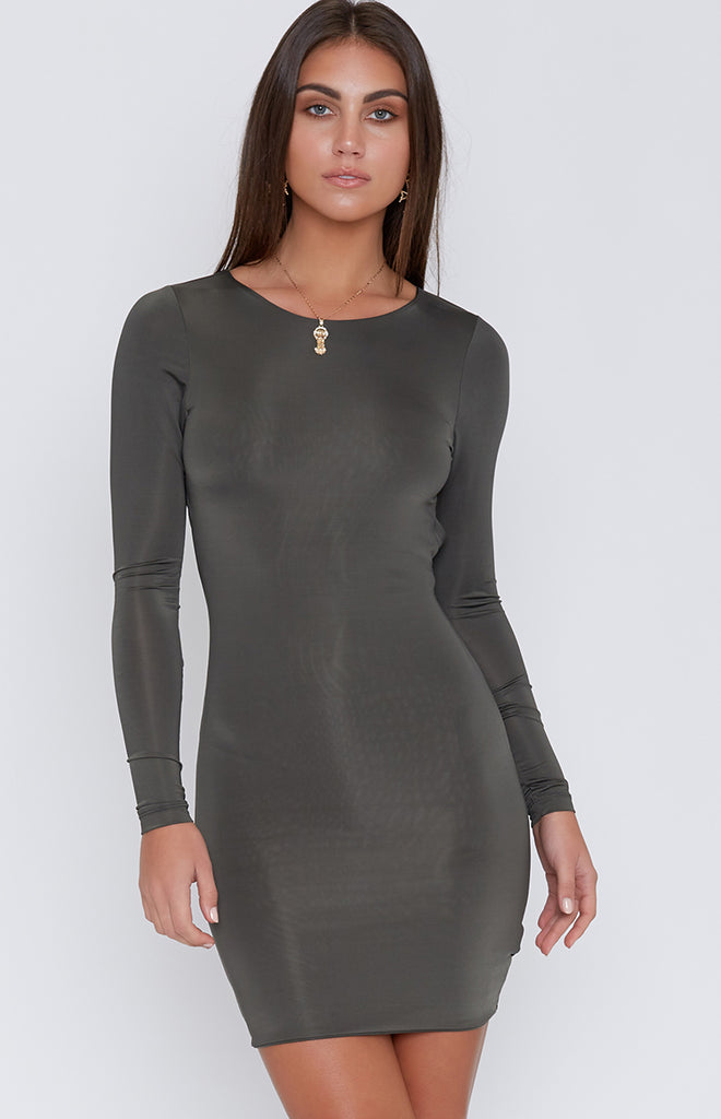 Kylie Mini Dress Deep Khaki