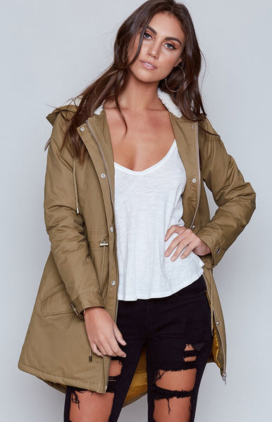 MinkPink Neighbourhood Watch Parka Olive