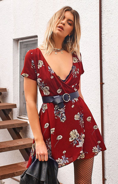 Sacred Wrap Dress Blossom Red Floral