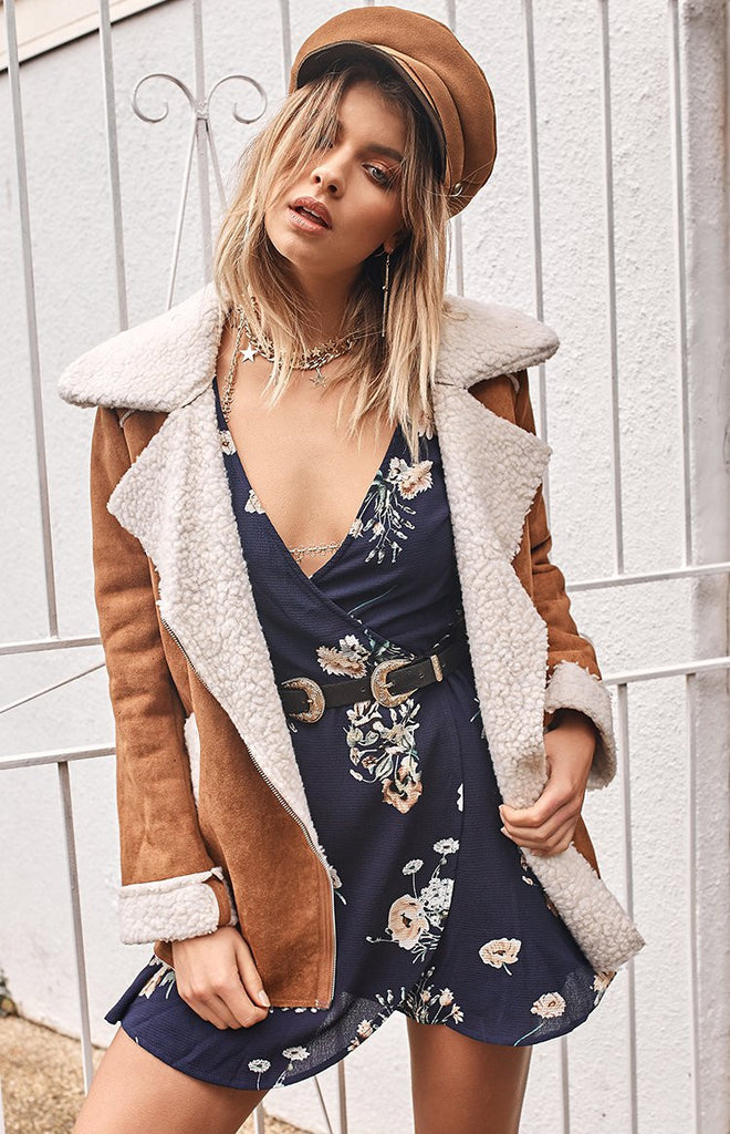 Sacred Wrap Dress Blossom Navy Floral