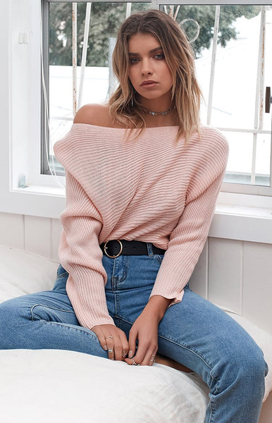 Free Hugs Off Shoulder Knit Blush