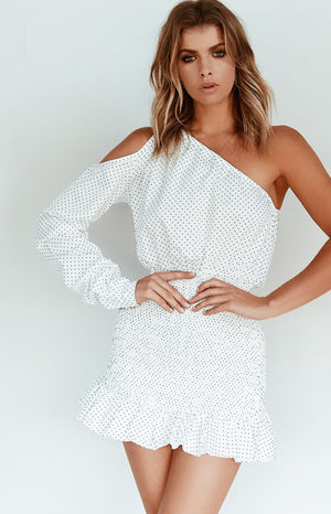 Bailey One Shoulder Dress White Polka