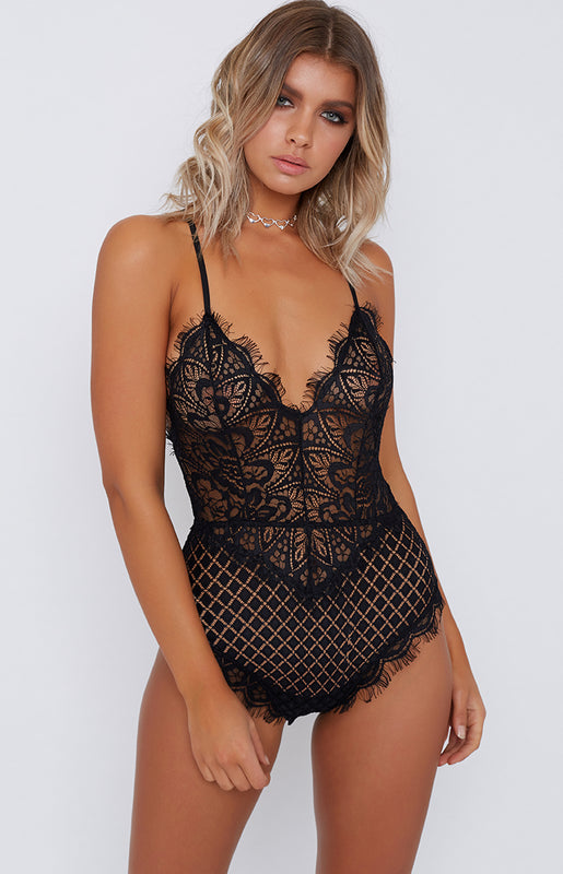 Disclosure Lace Bodysuit Black