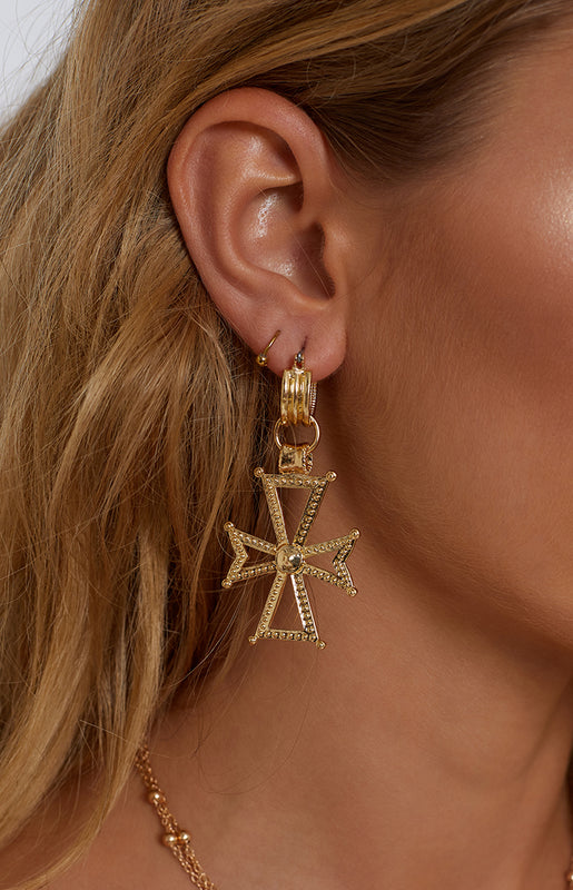 Eclat Cross Your Heart Earrings Gold