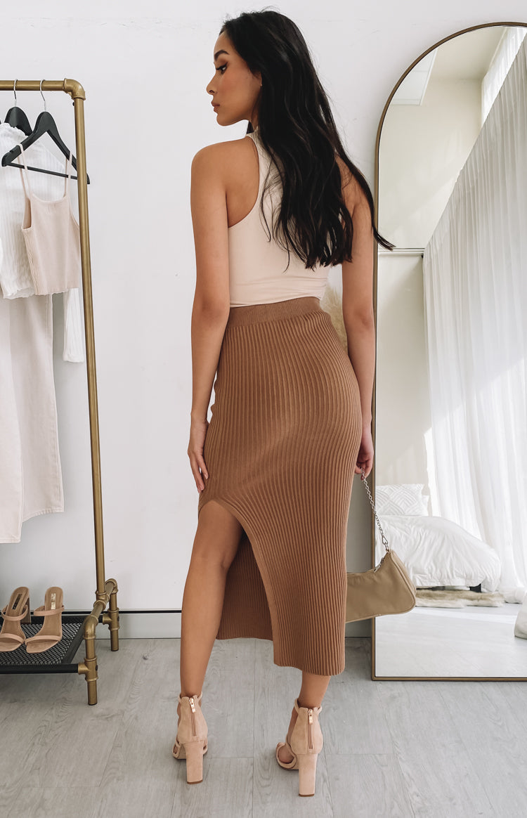 Laurena Knit Midi Skirt Tan