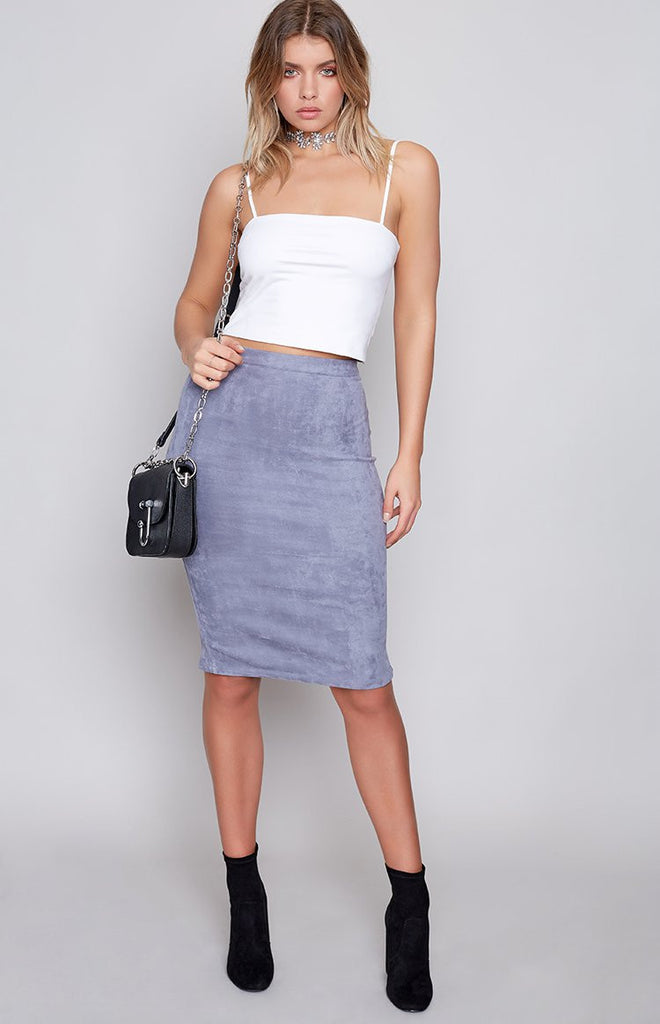 Peacemaker Midi Skirt Grey Suede