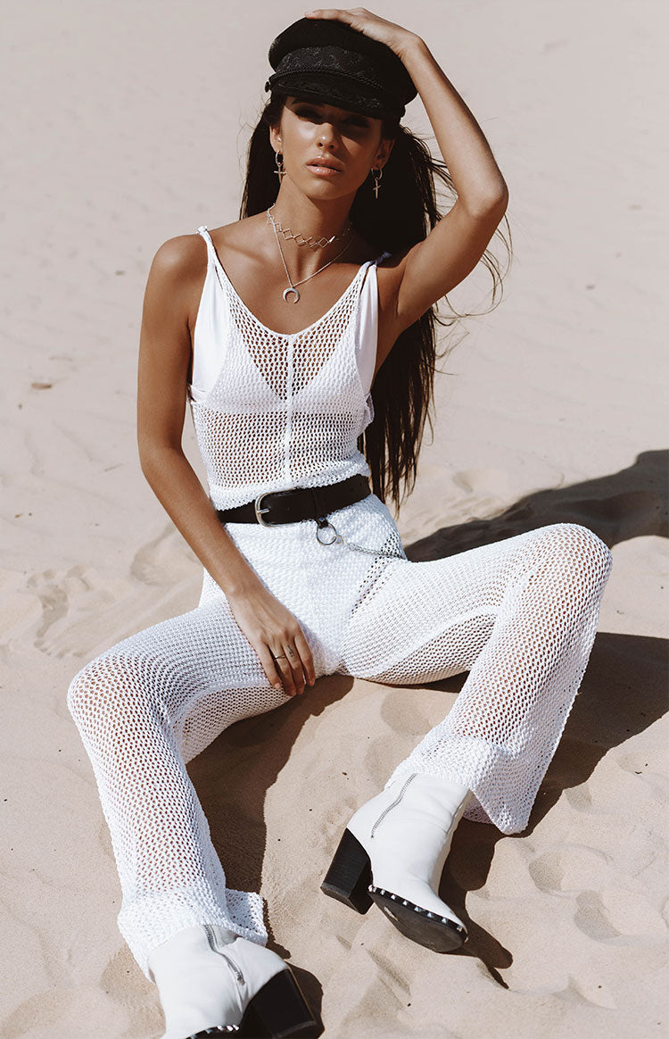 Riot Time Knit Jumpsuit White