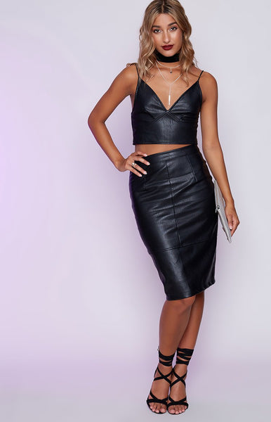 Ace Pencil Skirt Faux Black Leather