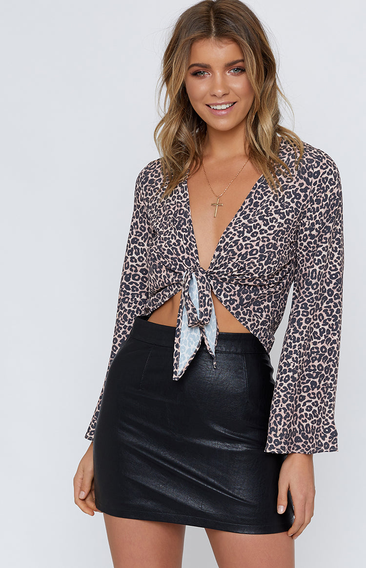 Ransom Tie Up Crop Leopard
