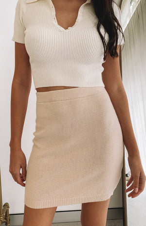 Lola Knit Skirt Cream