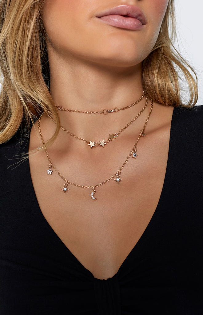 Eclat Moon River Layered Necklace Gold