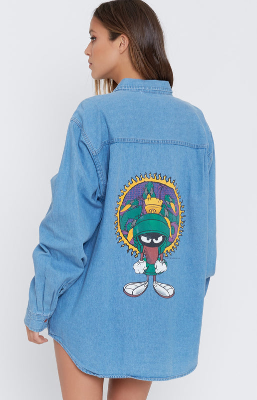 Vintage Marvin The Martian 'Duck Dodger' Chambray Shirt