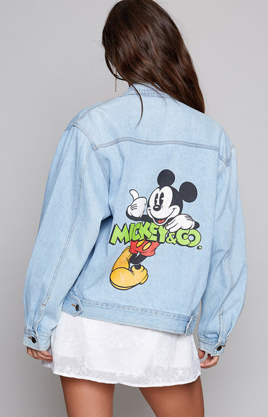 Vintage Chillin' Mickey Cropped Denim Jacket
