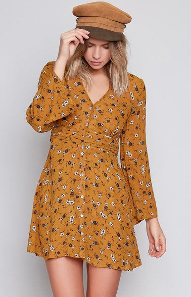 Praire Girl Long Sleeve Dress Mustard Floral