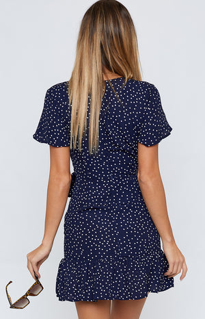Brittany Navy Polka Dress