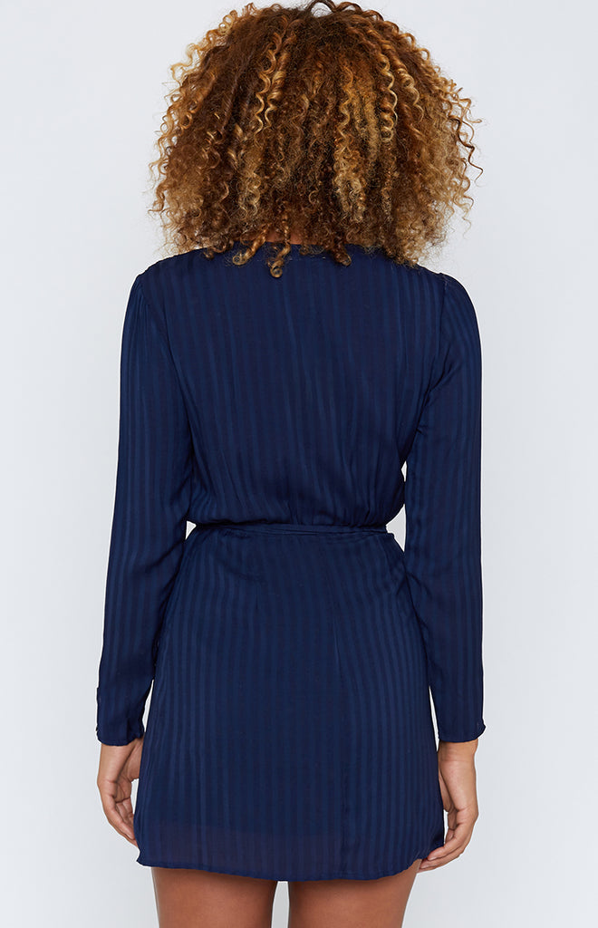 Leia Long Sleeve Dress Navy