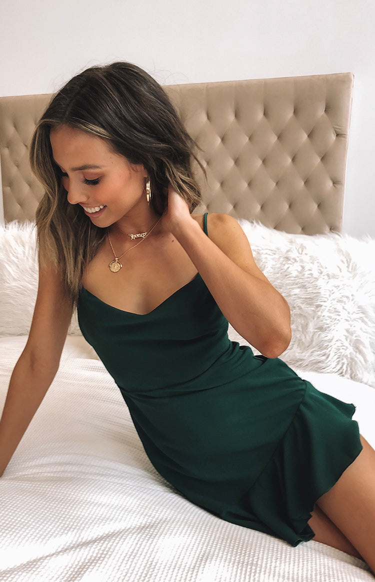 New York Nights Dress Forest Green