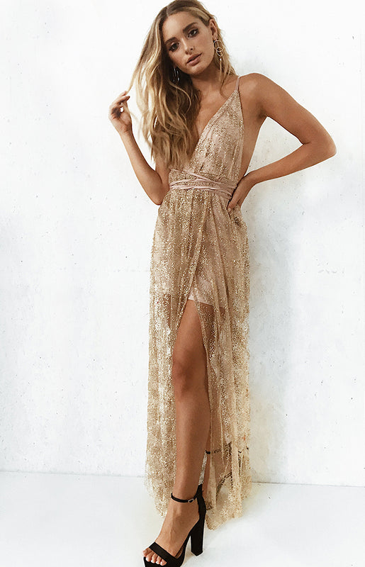 Carman Formal Maxi Dress Champagne Glitter