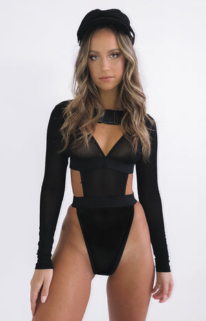 Icon Mesh Bodysuit Black