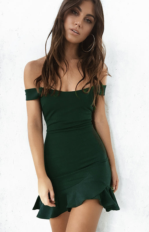 Abigail Off Shoulder Dress Emerald