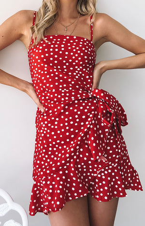 Take Me To Town Dress Red Polka