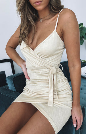 Goldie Wrap Dress Gold