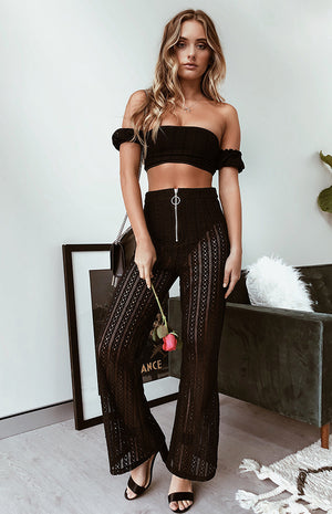 Sophie Lace Crop Black
