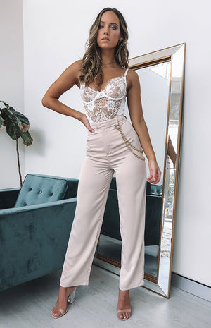 Fallon High Waisted Pants Nude