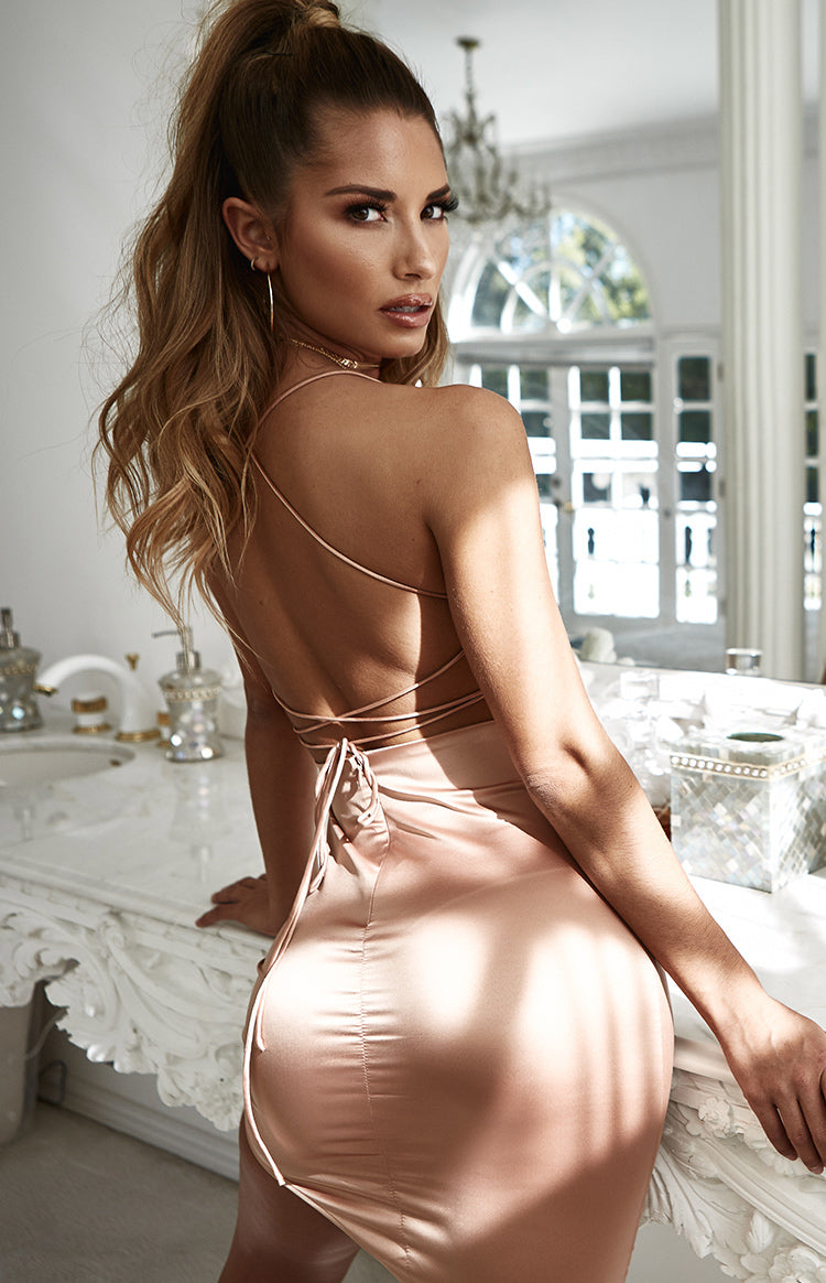 Lacey Backless Dress Blush