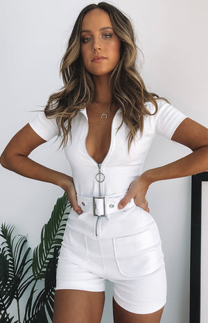 Charlie Zip Up Romper White