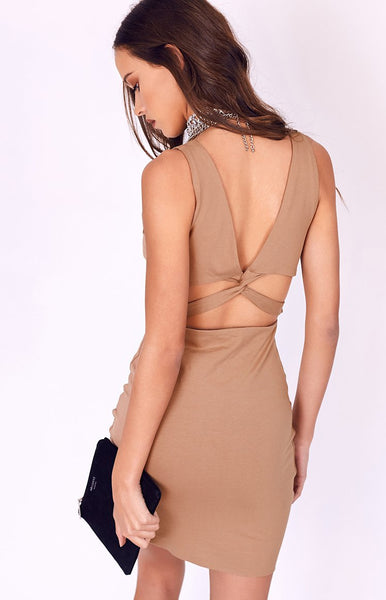 Entwined Mini Dress Camel