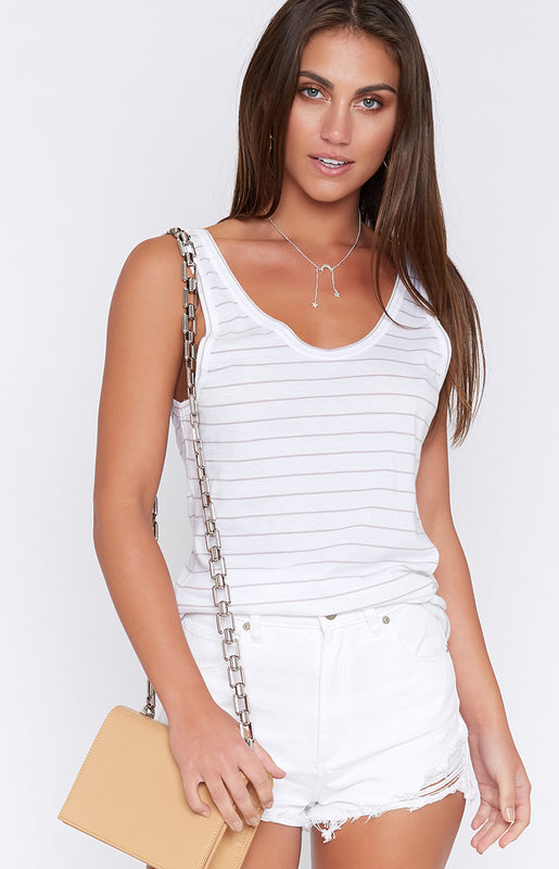 Nude Lucy Daybreak Scoop Neck Tank White Pumice Stripe