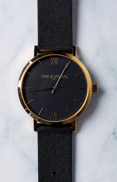 Oak & Jackal Black And Gold Watch