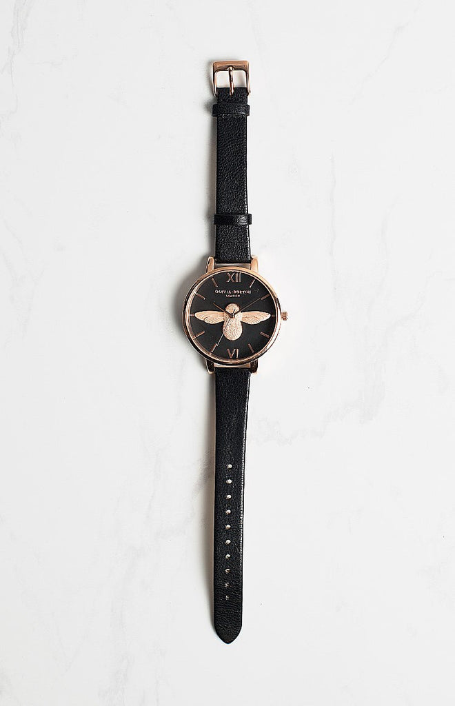 Olivia Burton Animal Motif Black Dial Moulded Bee Watch Rose Gold