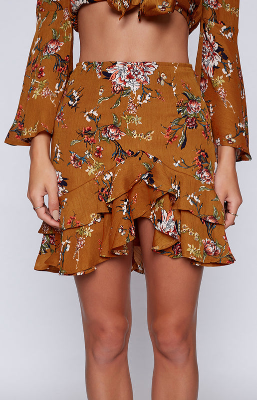 Dixie Skirt Tan Floral