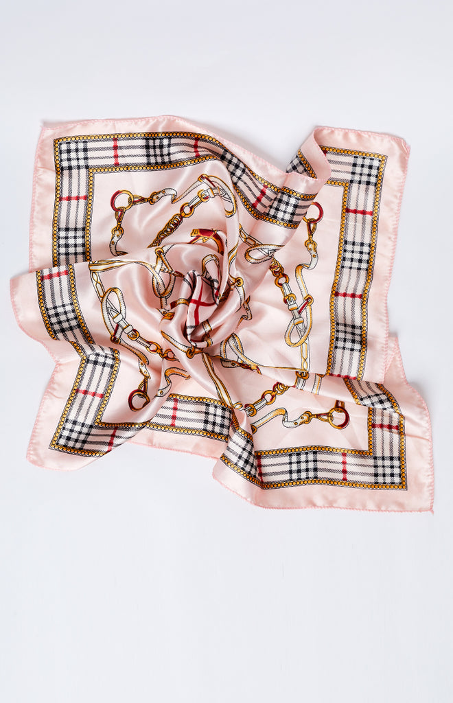 Race Day Silky Bandana Pink Plaid