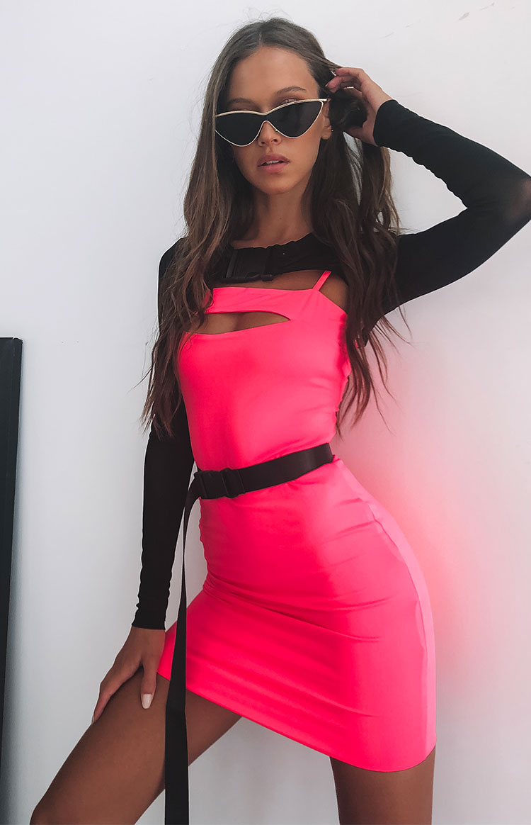 Love and Peace Dress Neon Pink