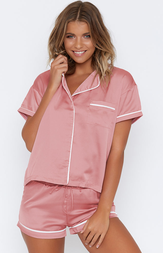 Amour Button Up Sleep Shirt Blush with White