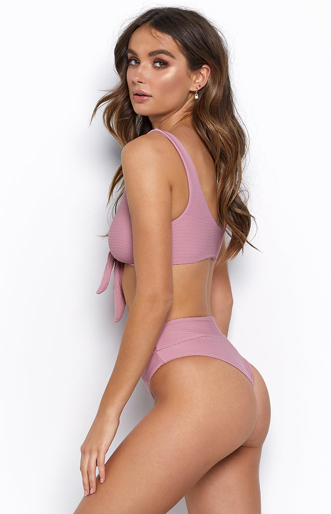 9.0 Swim Sardinia Tie Up Bikini Top Dusty Pink Ribbed
